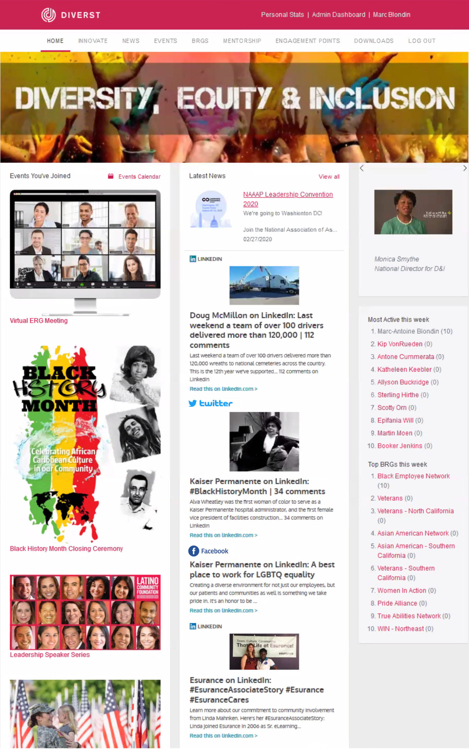Photo of Diverst web page with Diversity - Equity - Inclusion banner